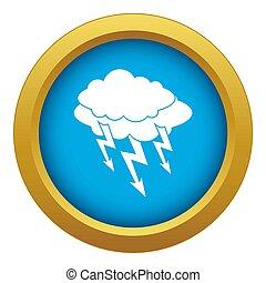 Lightning bolt icon blue isolated
