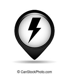 lightning bolt icon in round shape, vector illustration