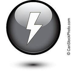 Lightning bolt icon on black