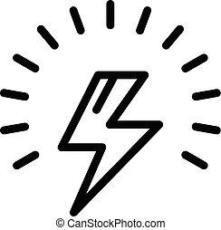 Lightning bolt icon, outline style