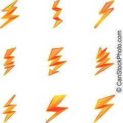 Lightning bolt icon set, cartoon style
