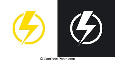 Lightning bolt icon, vector. Two-tone version on black and white background