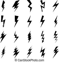 Lightning bolt icons, black thunder lightings on white...