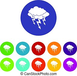 Lightning bolt icons set flat vector
