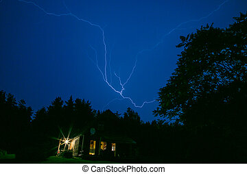 Lightning bolt in a countryside