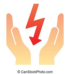 Lightning bolt in hands flat icon. Save electricity color icons in trendy flat style. Electrician safety gradient style design, designed for web and app. Eps 10.