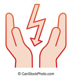 Lightning bolt in hands flat icon. Save electricity red icons in trendy flat style. Electrician safety gradient style design, designed for web and app. Eps 10.