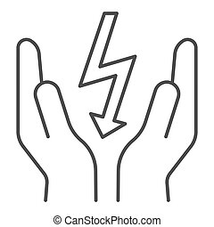 Lightning bolt in hands thin line icon. Save electricity vector illustration isolated on white. Electrician safety outline style design, designed for web and app. Eps 10.