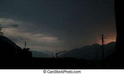 Lightning bolt - Lightning strike in a thunderstorm over...