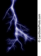 Lightning bolts at night show the power and beauty of an...