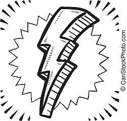 Lightning bolt sketch - Doodle style lightning bolt...