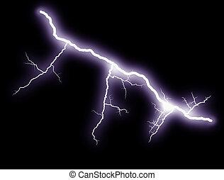 Lightning bolts at night show