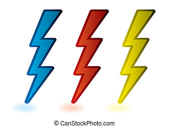 Lightning bolts - collection of red blue and yellow...