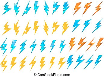 Lightning bolts or electrical icons - Colorful lightning...
