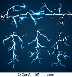 Lightning bolts over dark sky set