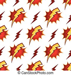 Lightning bolts vector seamless pattern in retro 80s cartoon style