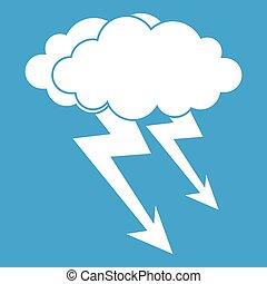 Lightning cloud icon white