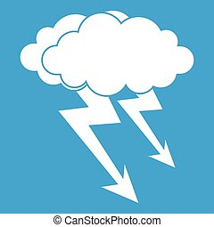 Lightning cloud icon white