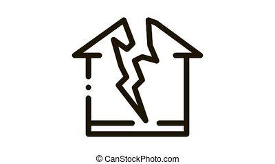 lightning destroyed house Icon Animation. black lightning destroyed house animated icon on white background