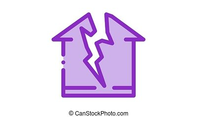 lightning destroyed house Icon Animation. color lightning destroyed house animated icon on white background