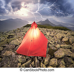 Lightning discharge over the top in the Alps