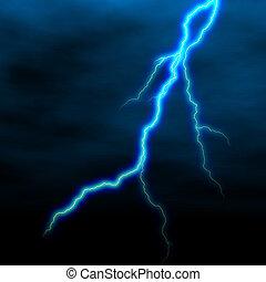 lightning - electrical white blue lightning over dark sky
