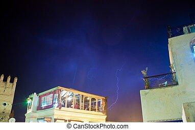 Lightning during a storm in Fez medina