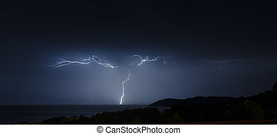 lightning during a storm on the sea