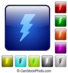 Lightning energy color square buttons