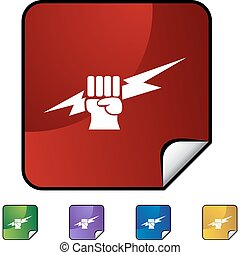 Lightning Fist - Lightning fist web button isolated on a...