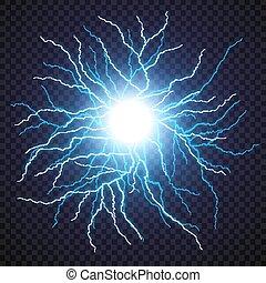 Lightning flash light thunder spark on transparent...