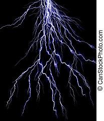 Lightning flash on black background