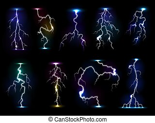 Lightning flash thunder vector thunderstorm with flashing light and electricity blast storm or thunderbolt illustration isolated on black background