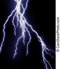 lightning flashes - Blue lightning flash on black sky