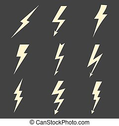 Lightning flat icons. Vector