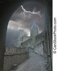 Lightning gate - Carcasonne Castle in France with a stormy...