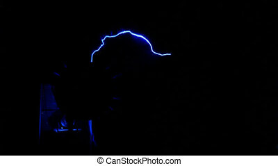 Photography of lightning bolt generated from a Van de Graff electricity generator