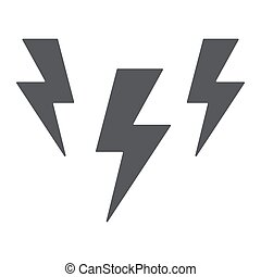 Lightning glyph icon, storm and forecast, thunder sign, vector graphics, a solid pattern on a white background.