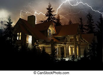 Lightning Home Protection Theme. Log Home in the Middle of...