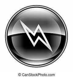 Lightning icon black, isolated on white background.