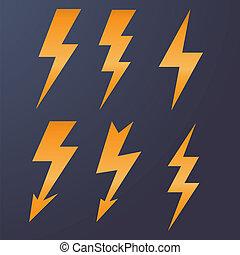 Lightning icon flat design long shadows vector illustration.