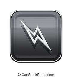 Lightning icon glossy grey, isolated on white background.