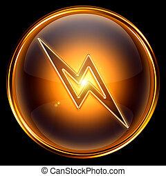 Lightning icon golden, isolated on black background.
