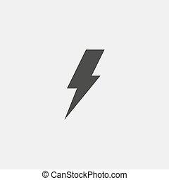 Lightning icon in black color. Vector illustration