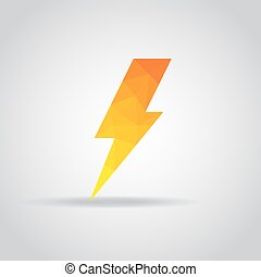 Lightning icon in polygonal on a gray background