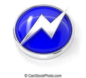 Lightning icon on glossy blue round button