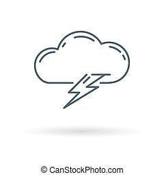 Lightning icon on white background - Cloud lightning bolt...