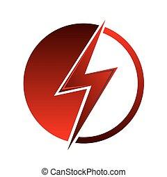 Lightning icon. - Red lightning icon. Sign of lightning.