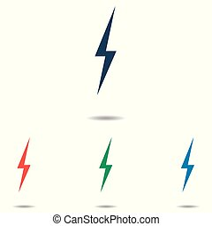 Lightning icon set - simple flat design isolated on white background, vector