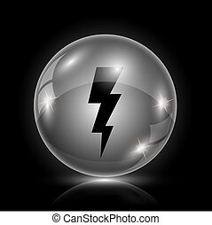 Lightning icon - Shiny glossy icon - glass ball on black...